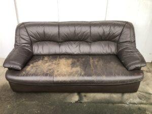 本革ソファー 傷んだ座面を補修・再塗装